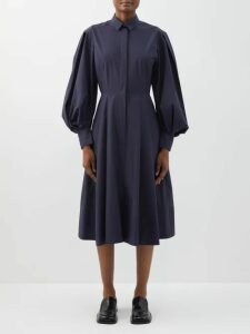 Junya Watanabe - Bustier Cotton Poplin Shirtdress - Womens - Blue Multi