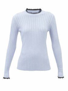 Rodarte - Square Neck Puffed Sleeve Leather Blouse - Womens - White Gold