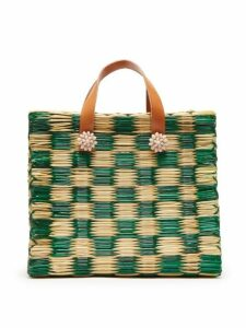 Heimat Atlantica - Tom Tom Straw And Leather Tote Bag - Womens - Green Multi