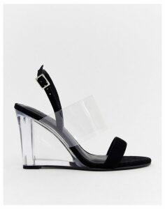 ASOS DESIGN Hastings clear heeled wedges in black