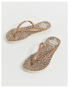 Havaianas slim flip flops in leopard print-Multi