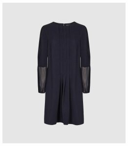 Reiss Delfina - Pin Tuck Detailed Dress in Navy, Womens, Size 16