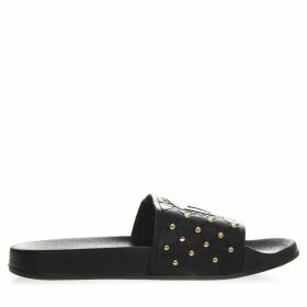 Versace Jeans Couture Black Rubber Mini Studs Slipper Sandal