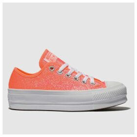 Converse White & Pink Clean Lift Glitter Platform Trainers