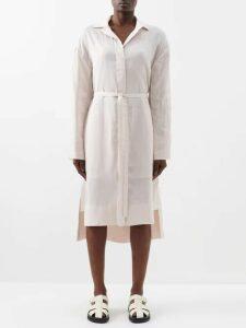Palmer//harding - Sash Ruffle Trimmed Cotton Blend Shirtdress - Womens - Navy