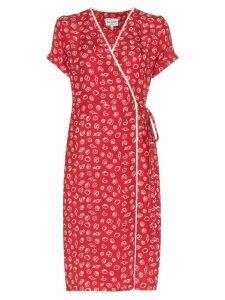 HVN vera print silk wrap dress - Red