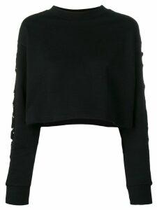 Gaelle Bonheur mesh sleeve cropped sweatshirt - Black