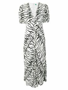 Rixo tiger print flared dress - White
