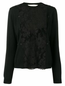 Ports 1961 floral sheer panel cardigan - Black