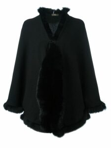 N.Peal cashmere furry trim cardigan - Black
