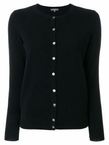 N.Peal round neck contrast button cardigan - Black