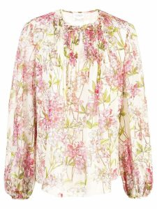 Giambattista Valli floral tie-neck blouse - NEUTRALS