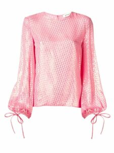 Attico metallic balloon sleeve blouse - PINK