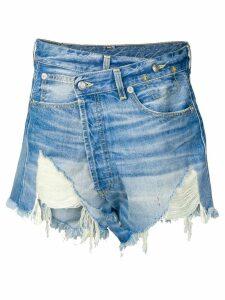 R13 crossover denim shorts - Blue