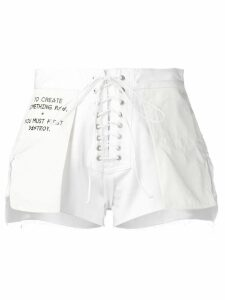 UNRAVEL PROJECT reverse lace-up shorts - White