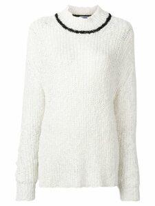 Jil Sander contrast stripe jumper - White