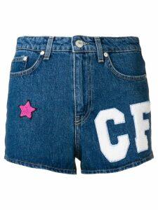 Chiara Ferragni multi-patch denim shorts - Blue