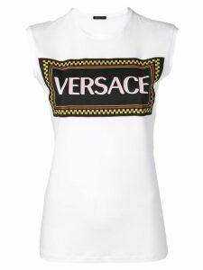 Versace logo print tank top - White