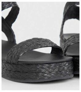 Black Straw Effect Espadrille Flatform Sandals New Look