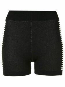 Nagnata Yoni side stripe compression shorts - Black