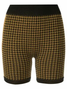 Nagnata merino-blend Suki houndstooth biker shorts - Yellow