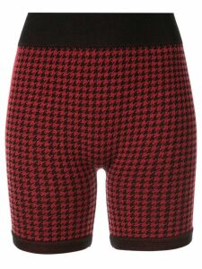 Nagnata merino-blend Suki houndstooth biker shorts - Red