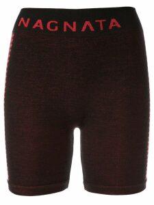 Nagnata Suki side stripe biker shorts - Black