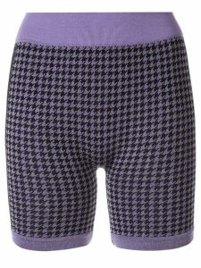 Nagnata merino wool blend Suki houndstooth biker shorts - PURPLE