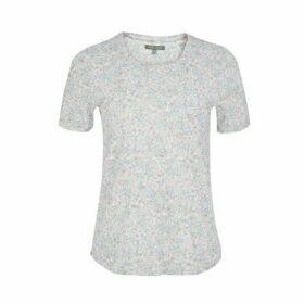Crew Neck Floral Print Tee Shirt