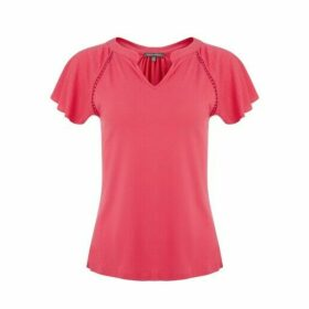 Lobster Embroidered Cap Sleeve Top