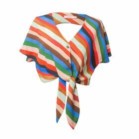 Tomcsanyi - Paty Stripes Print Open Back Tie Hem Top