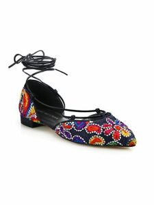 Gilligan Embroidered Denim Lace-Up Flats
