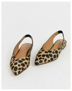 ASOS DESIGN Leanne leather high vamp slingback ballet flats in leopard-Multi