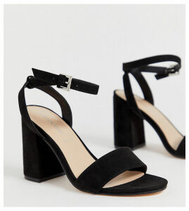 London Rebel wide fit barely there block heel sandals-Black