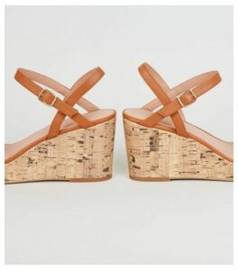 Off White Woven Strap Cork Wedges New Look