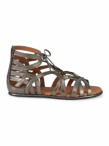 Leather Ghillie d'Orsay Flat Sandals