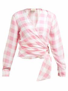 Adriana Degreas - Vichy Gingham-print Wrap Top - Womens - Pink
