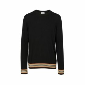 Burberry Icon Stripe Detail Merino Wool Sweater