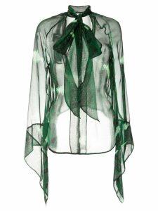 Petar Petrov sheer snake print blouse - Green