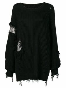 Almaz oversized destroyed jumper - BLACK