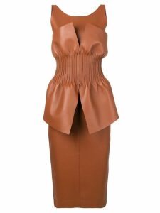 Fendi gathered bodice leather dress - Brown