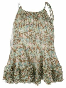 Stella McCartney ruffled floral print top - Green