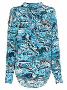 Balenciaga text-print tie neck silk shirt - Blue