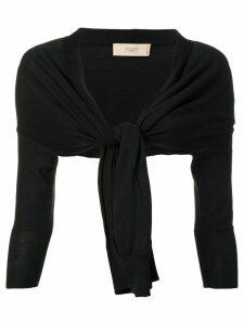 Maison Flaneur tie front cropped cardigan - Black