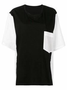 Y's contrasting panels T-shirt - Black