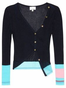 i-am-chen ribbed-kni cropped silk cardigan - Blue