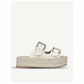 Kleverer metallic-leather flatform sandals