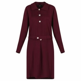 GISY - Plum Silky Cotton Shirtdress