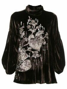 Biyan velvet embroidered blouse - Brown