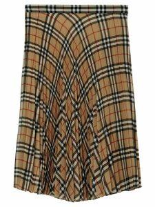 Burberry Vintage Check Chiffon Pleated Skirt - Brown